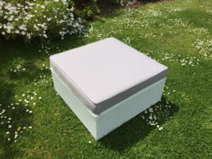 Elite White Rattan Ottoman - Small