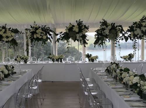 9m Premium Marquee with Silk Roof Lining on Waiheke