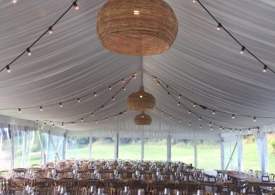 Roof lining in a 9m Premium Marquee on Waiheke