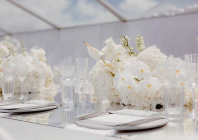 9m Clear Roof Marquee - flowers by Blush