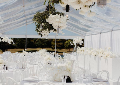9m Marquee with a Clear Roof - flowers by Blush