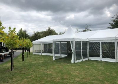 9m x 21m Traditional marquee with entrance pagoda at Sculptureum