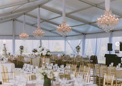 VIP Marquee at Te Hihi Estate - Chandeliers by La Lumiere