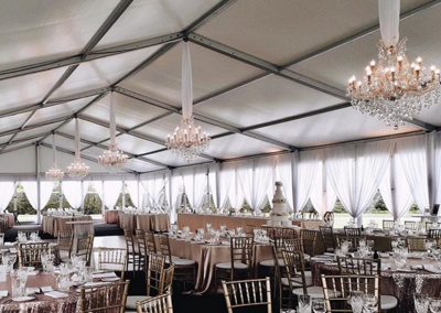 VIP Marquee with mixed floor coverings of carpet and vinyl floorboards
